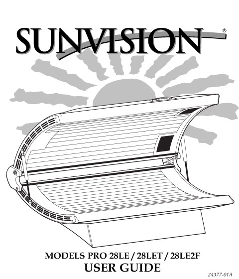 Solar storm 24s tanning bed user manual