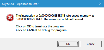 svchost exe application error the instruction at referenced memory at