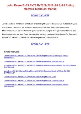 john deere rx75 service manual free download