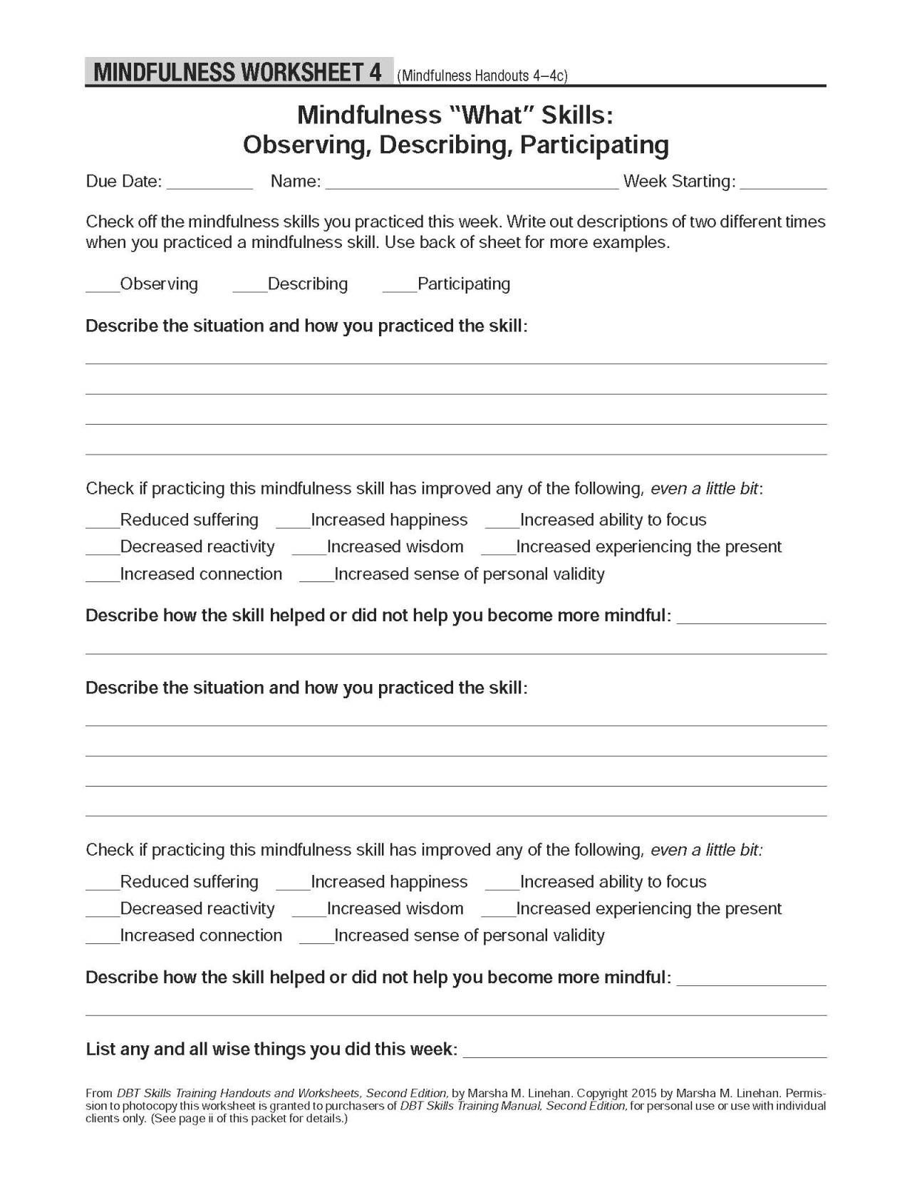 Dbt skills training handouts and worksheets free pdf