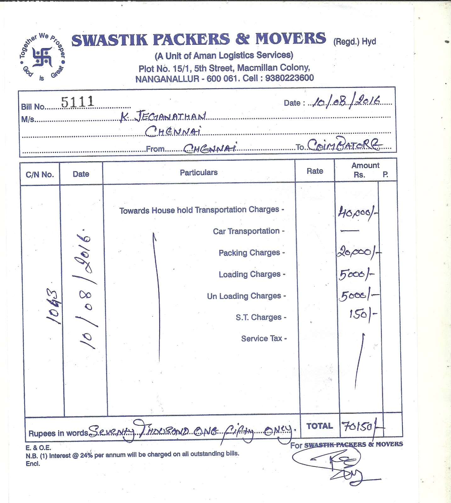 Packers and movers invoice pdf