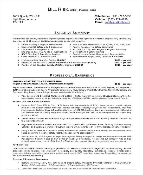 Construction safety manager job description pdf
