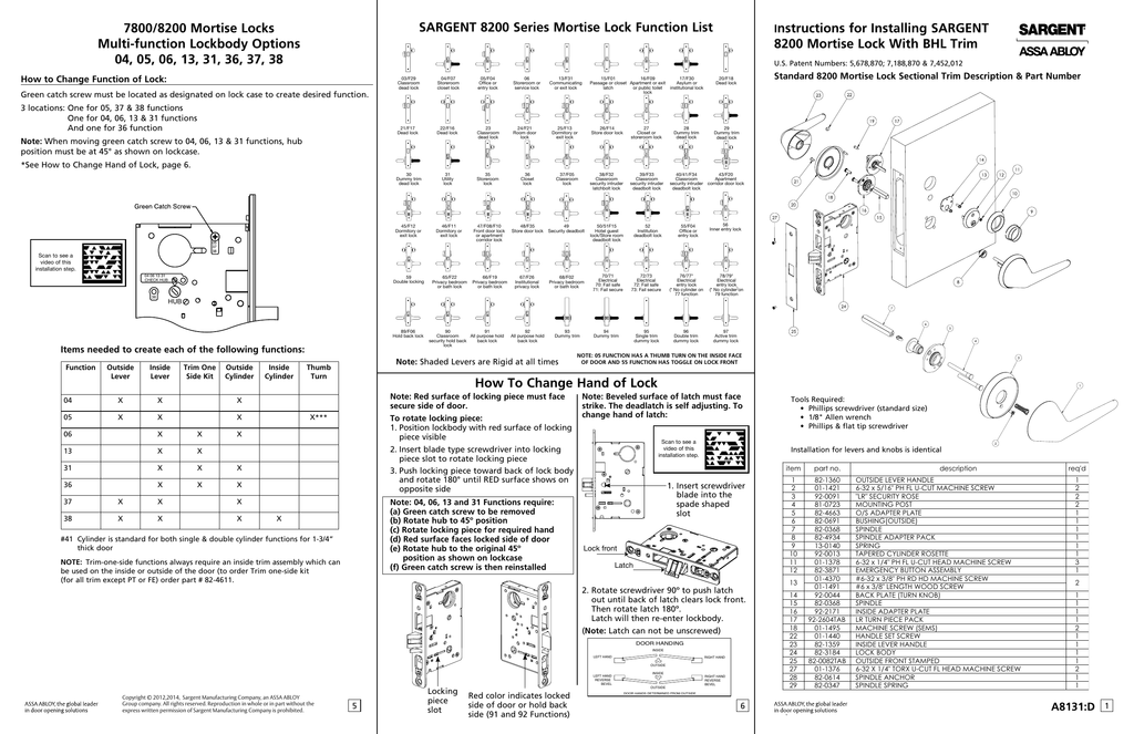 Sargent mortise lock service manual