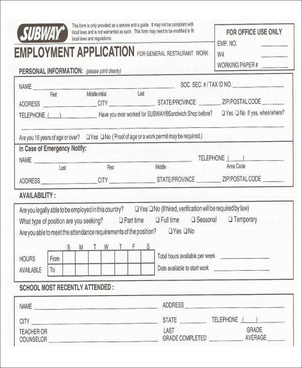 Application for employment in restaurant