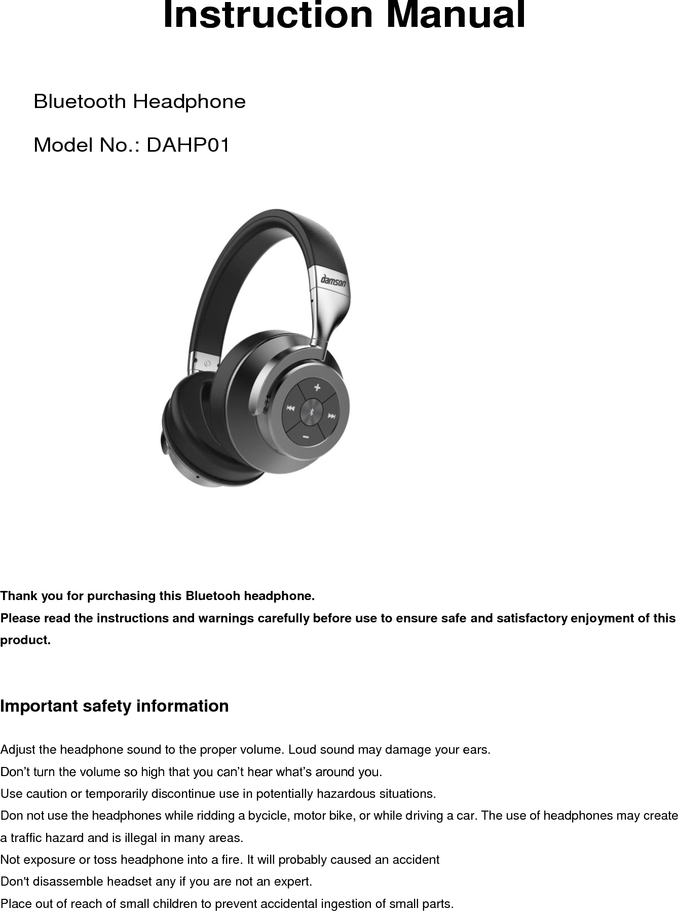 ihip bluetooth headphones user manual