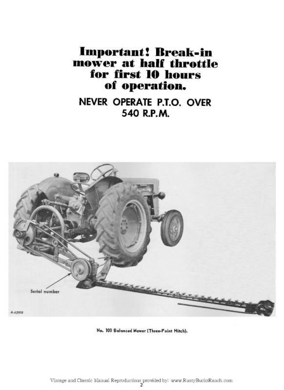 International 1300 sickle mower parts manual