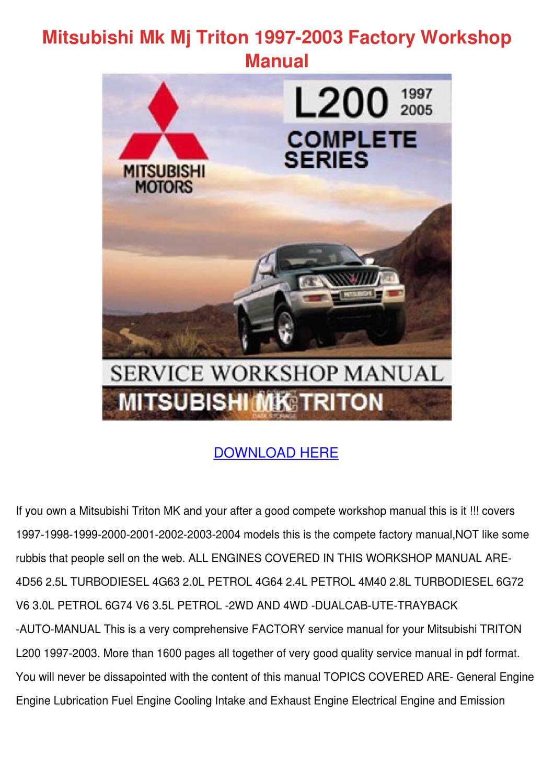 mitsubishi triton mk 2x4 workshop manual