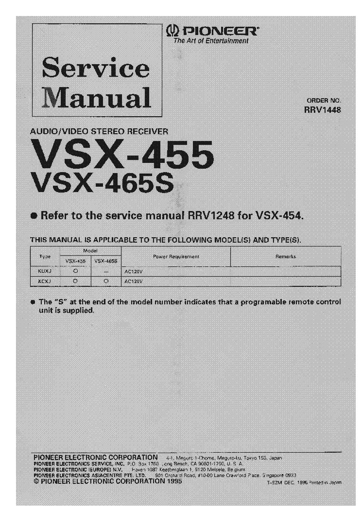Pioneer vsx 455 service manual