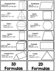 Surface area and volume formulas pdf