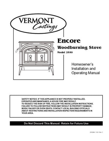 vermont castings encore 2550 manual