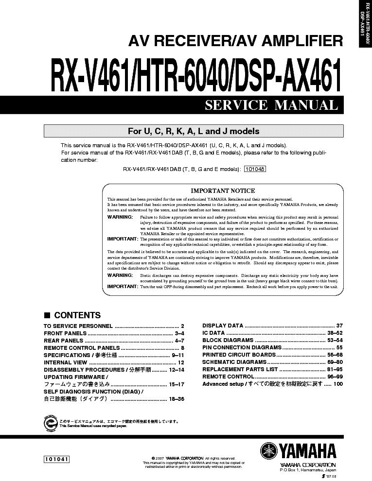 yamaha rx v461 manual download